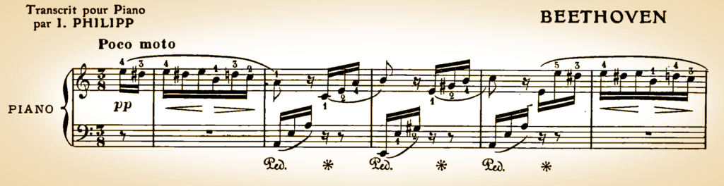 Archaic sepia toned manuscript of the first line of Fur Elise.